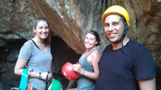 From left to right: Chaya, Lyndsey and Foued. Some great fellow cavers.